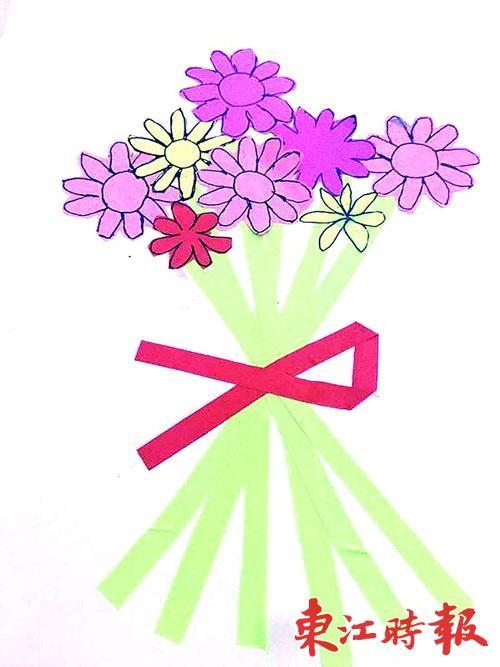 萌娃的教师节礼物:自创童画 和爸妈齐做手工花